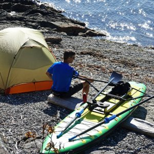 """Camping with Oar Board® SUP Fit On Top Rower, Stand Up Paddle Board, Adventure Row 13'4"""" Inflatable SUP, Oar Board, Whitehall Rowing & Sail"""
