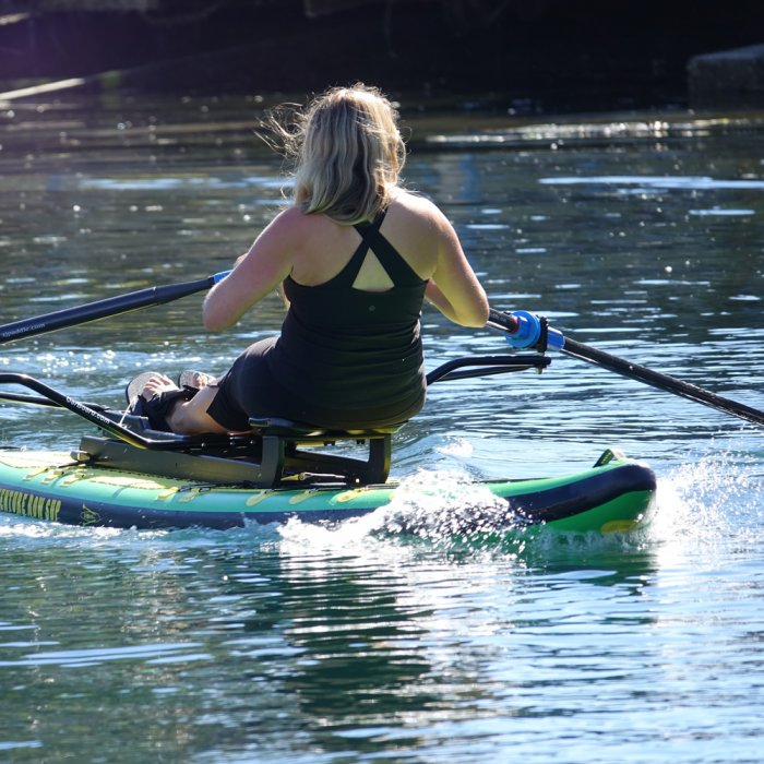 """Adventure Row 13'4"""" Inflatable SUP, Oar Board, Whitehall Rowing & Sail"""