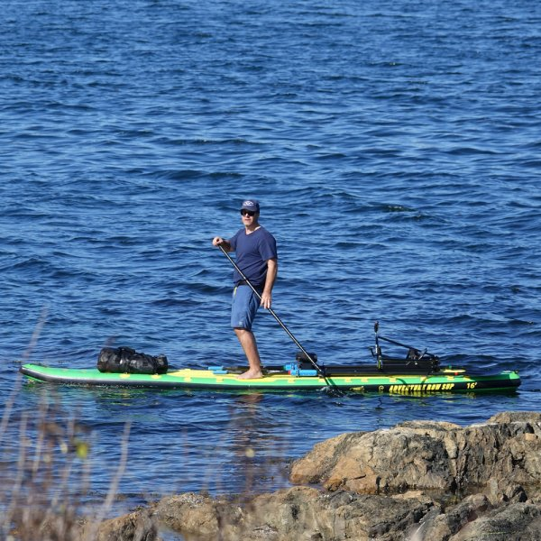 Fitness Row 16' Inflatable SUP, Oar Board, Whitehall Rowing & Sail
