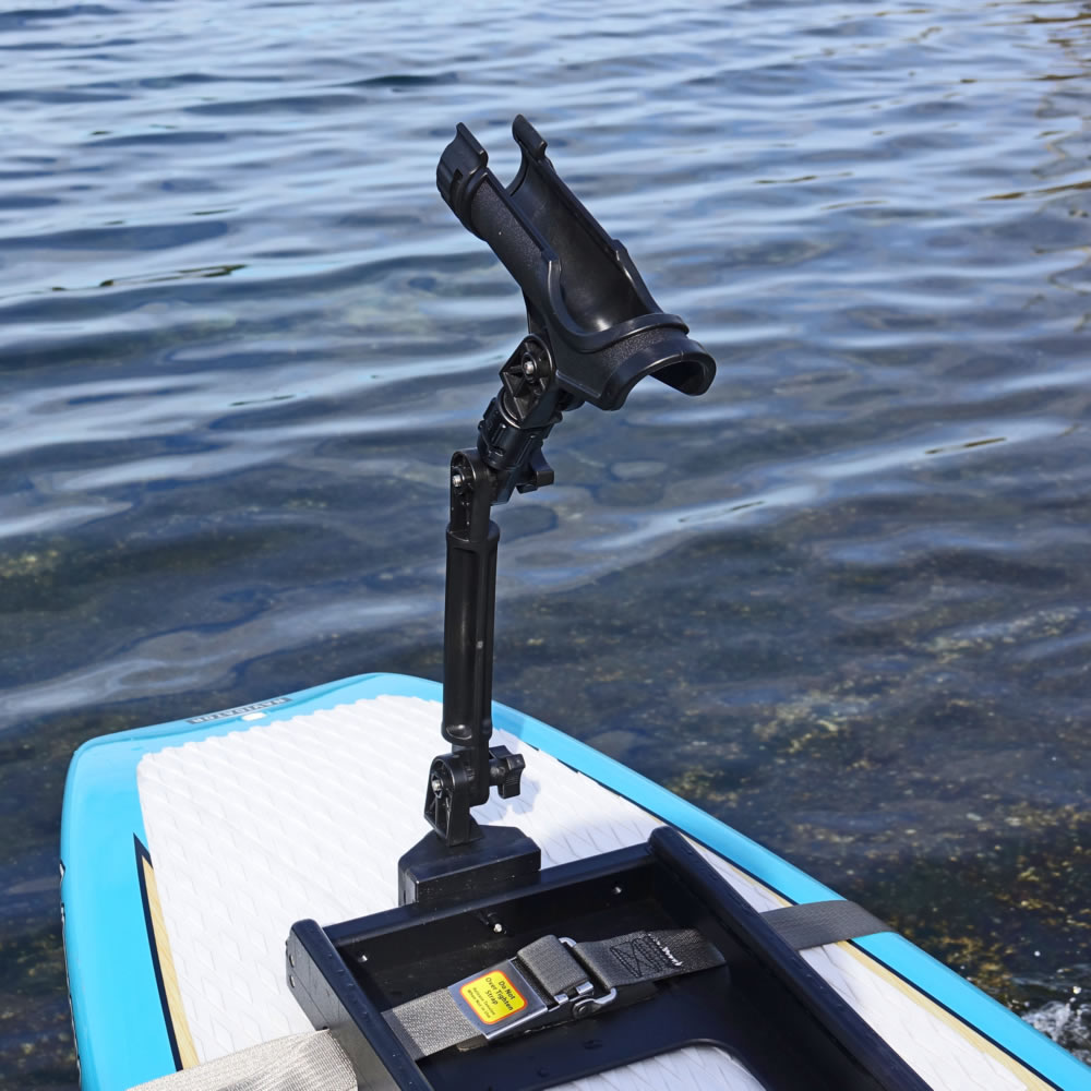 Fishing rod holder with gear head mount extender oar for Fishing pole holders for boats