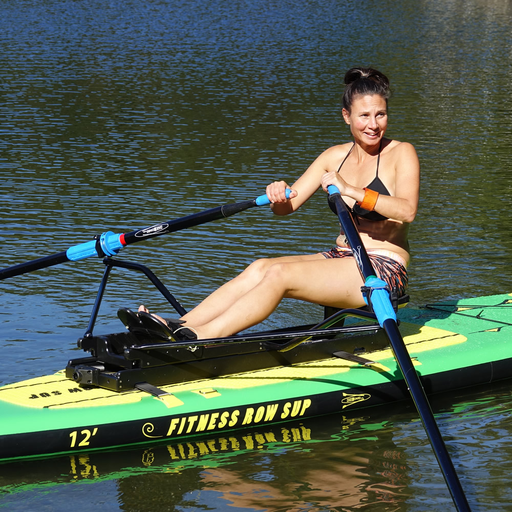 The Fitness Row 12' Inflatable SUP with Oar Board® Fit On Top Rower