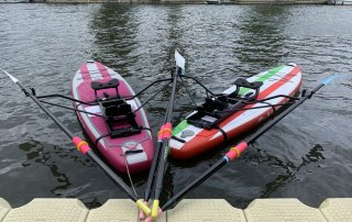"Meet ""A SUPer WEY To Row"" (left) and ""WEY Too Much Fun"" (right), Weybridge Rowing Club"